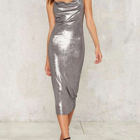 Silver Ruched Plunge Bodycon Mini Dress