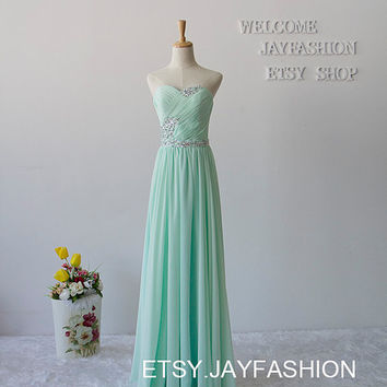 2015 Sweetheart Long Chiffon Prom Dresses Bridesmaid Dresses A-line party Dresses Mint Green cheap evening dresses homecoming dress