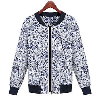 Porcelein Print Long Sleeve Jacket