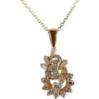 Estate 18K stamped solid gold necklace with gorgeous natural diamonds, geometric design pendant, cable chain