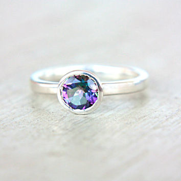 Mystic Topaz Ring Sterling Silver Topaz Unique Engagement Ring Alternative Diamond Ring Size 6,5 Promise Ring