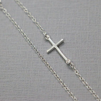 Silver Sideways Cross Necklace, Sterling Silver Sideways Cross Necklace