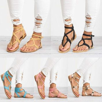 Women Flat Strappy Sandals Ladies Gladiator Summer Holiday Beach Shoes Size 5-10