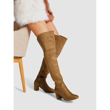 Block Heeled Thigh High Suede Boots