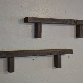 Barnwood wall shelves 24  inches  dark gray 3.5 inches deep