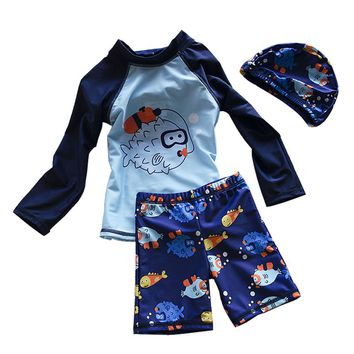 Children Swimsuit Blue Handsome Boys Two Piece Swimming Wear with Bathing Cap Fish Printed Toddler Bathing Suit for Pupils