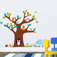 Kids wall decals Baby decals nursery decals Tree with animals
