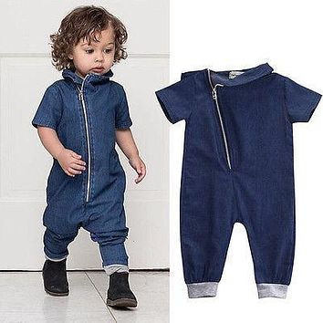 The spring and summer autumn fashion children thin denim jeans short sleeved Jumpsuit shorts denim pants long sleeved conjoined