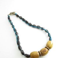 Wood Bead Necklace Knotted Leather and Wood Necklace Chunky Wood Necklace Handmade Wood Trendy Jewelry BooBeads Natural Wood Jewelry