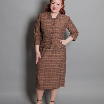 50s Brown Plaid SILK SUIT / Nipped Waist & Pencil Skirt, m