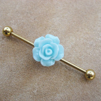 Industrial Barbell 14g Earring Piercing- Mint Green Rose Flower Titanium Gold Bar 14g