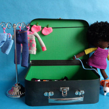 Crochet doll with clothes, bed and dog. Giftset in little suitcase. Dress up, travelset, girl.