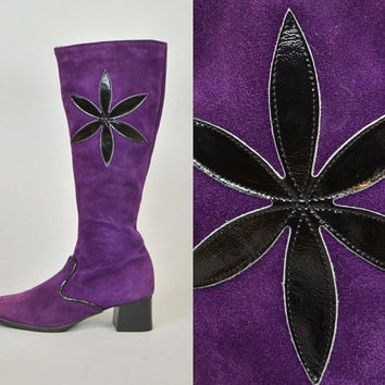 vtg 1960s PURPLE SUEDE mod hippie boho glam psychedelic go-go chunky knee high BOOTS, size 6.5 37 4