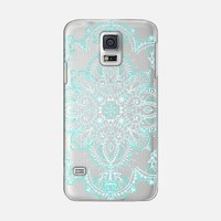 AQUA AND WHITE LACE MANDALA - TRANSPARENT Galaxy S5 case by Micklyn Le Feuvre | Casetify
