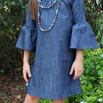 Kids Classic and Contemporary Denim Bell Sleeve Dress