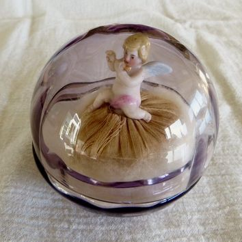 Antique Powder Jar, Cherub Powder Puff, Amethyst Glass Jar, Antique Vanity Accessories, Cherub Jar Angel