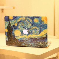2pcs/set Starry Night Oil Painting Decal For Apple MacBook Air Pro Retina 11 13 15 Sticker Mac Case Full Cover Laptop Skin Decor