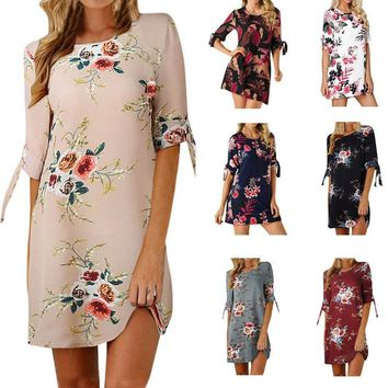 Womens Floral Print Bowknot Sleeves Cocktail Mini Above Knee Dress Party Dress