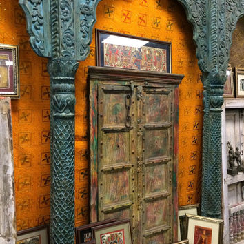 Antique Doors Frame Vintage Painted Architecture Double Panel Unique Temple Doors India