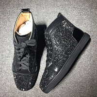 Christian Louboutin CL Rhinestone Mid Strass Style #1903 Sneakers Fashion Shoes Best Deal Online