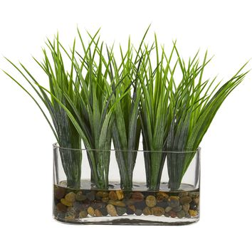 Vanilla Grass Artificial Plant in Oval Vase