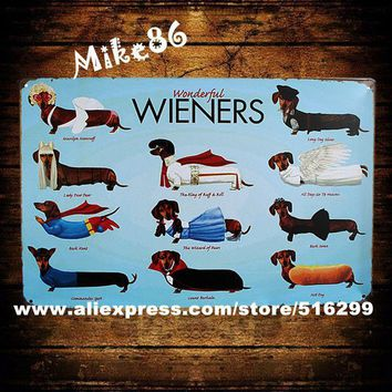 Wieners DOG Metal Signs Wall Tin Vintage Decor