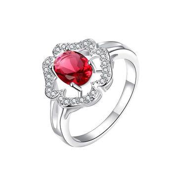 Clover Cluster Ruby Red Petite Ring