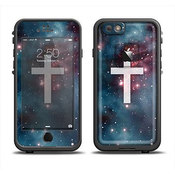 The Vector White Cross v2 over Red Nebula Apple iPhone 6 LifeProof Fre Case Skin Set