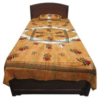Mogul Tie Dye Tapestry Cotton Bedspread Twin Size Dorm Decor