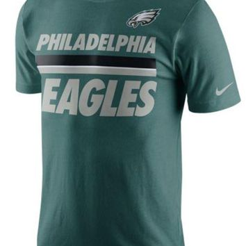 ONETOW NFL Philadelphia Eagles Green Nike Team Stripe Tee