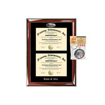 AllGiftFrames CSUS Double Certificate Frame California State University Stanislaus School Embossed Fisheye Campus Photo Dual School Two College Majors Holder