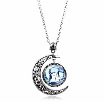 Vintage Style Jewelry The Nightmare Before Christmas Vintage Necklace Hollow Crescent Moon Glass Dome Chain Necklace Women Gift