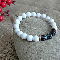 Girlfriend Gift Yoga Bracelet Men Bracelet Women Bracelet White Howlite Bracelet Stone Bracelet Girlfriend Gift Bracelet for men for women