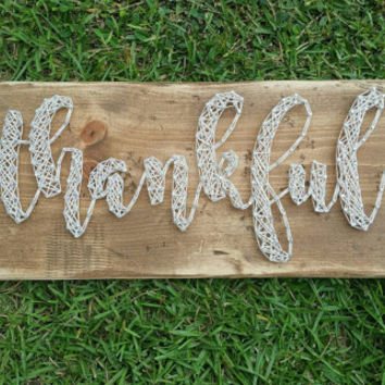 Rustic Weathered 'Thankful' String Art Sign, Farmhouse Style Neutral Thanksgiving Wall Decor, Ready to Ship