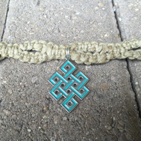 Endless knot hemp necklace