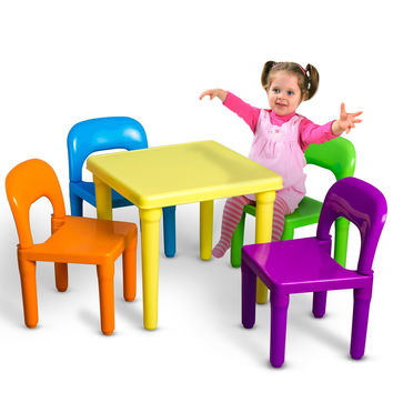 Children and Kids Table and Chairs Set | Includes 4 Plastic Chairs and 1 Art Craft Study Activity Table  Living Room Furniture  Picnic Table  Educational Learning Set - BPA FREE