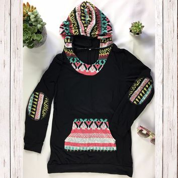 Geometric Spring Patch Hoodie