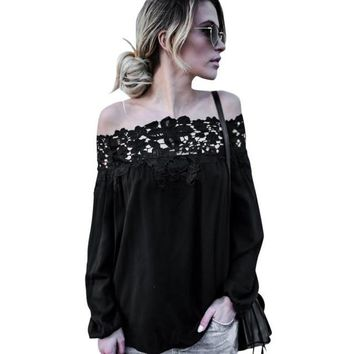 Black blusen women 2017 Lace Splice Blouses Summer Off Shoulder blouse Lace Long Sleeve Tops Casual Blouses #43