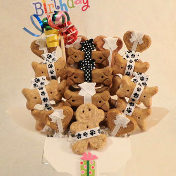 Birthday Dog biscuit treat dog gift basket, unique gift, colorful, custom, personalized