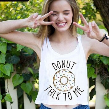 Donut Talk To Me Tank Tops - Women's Novelty Crop Tops
