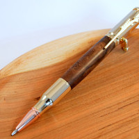 Walnut Burl Bolt-Action Pen with 24kt Gold Plated Fittings - Handcrafted Wood Ink Pen by WhiddensWoodshop - Wood Ballpoint Pen