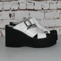 90s Chunky Sandals Mega Platform Leather White Black Slip on Slides Mules Wedge Grunge Boho Pastel Goth Hipster Festival Punk 6 4 37 Shoe Nu