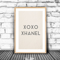 XOXO Scandinavian Art, Fashion Art Print, Coco Chanel, Minimalism Art, Printable Wall Art, Instant Download Nordic Design, Wall decor