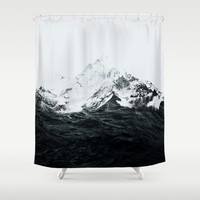 Those waves were like mountains Shower Curtain by Robert Farkas