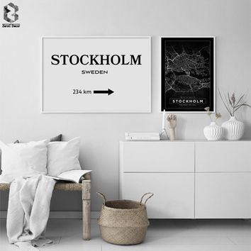 Scandinavian Minimalist Canvas Posters STOCKHOLM Map Nordic Style Wall Art Print Painting Picture for Living Room Decoration