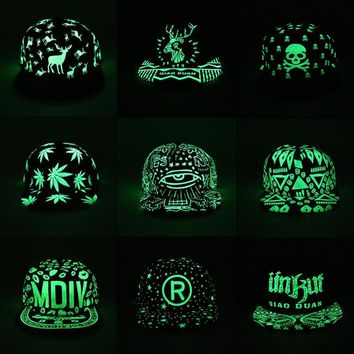 New Fashion Fluorescent Snapback Baseball Caps Hip Hop  Cap For Women Men Casual Unisex Caps Hats Glow In The Dark Adjustable