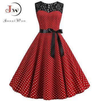 Sexy Summer Lace Elegant Party Dress Women O-Neck Red Polka Dot Vintage Dress Casual Plus Size Swing Pin Up Rockabilly Vestidos