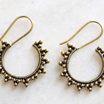 Indian earrings, Brass earrings,Ethnic earrings, Tribu,  Brass jewellery, Tribal jewellery,Carved earrings,Earrings,Indian jewellery ERBR78