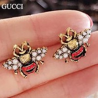 GUCCI New fashion pearl diamond bee earring women accessories