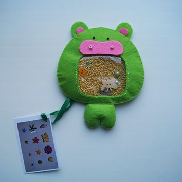 "Hippo Sensory Toy I spy bag ""Treasure Hunt"" Baby Nursery Stuffed Toy Decor Kids Animal Handmade Sweet Little Hippopotamus Eco-Friendly #12"